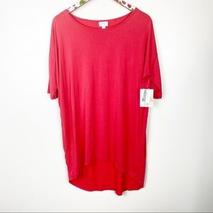 Lularoe Irma Womens Tunic Top Red NWT Oversize M